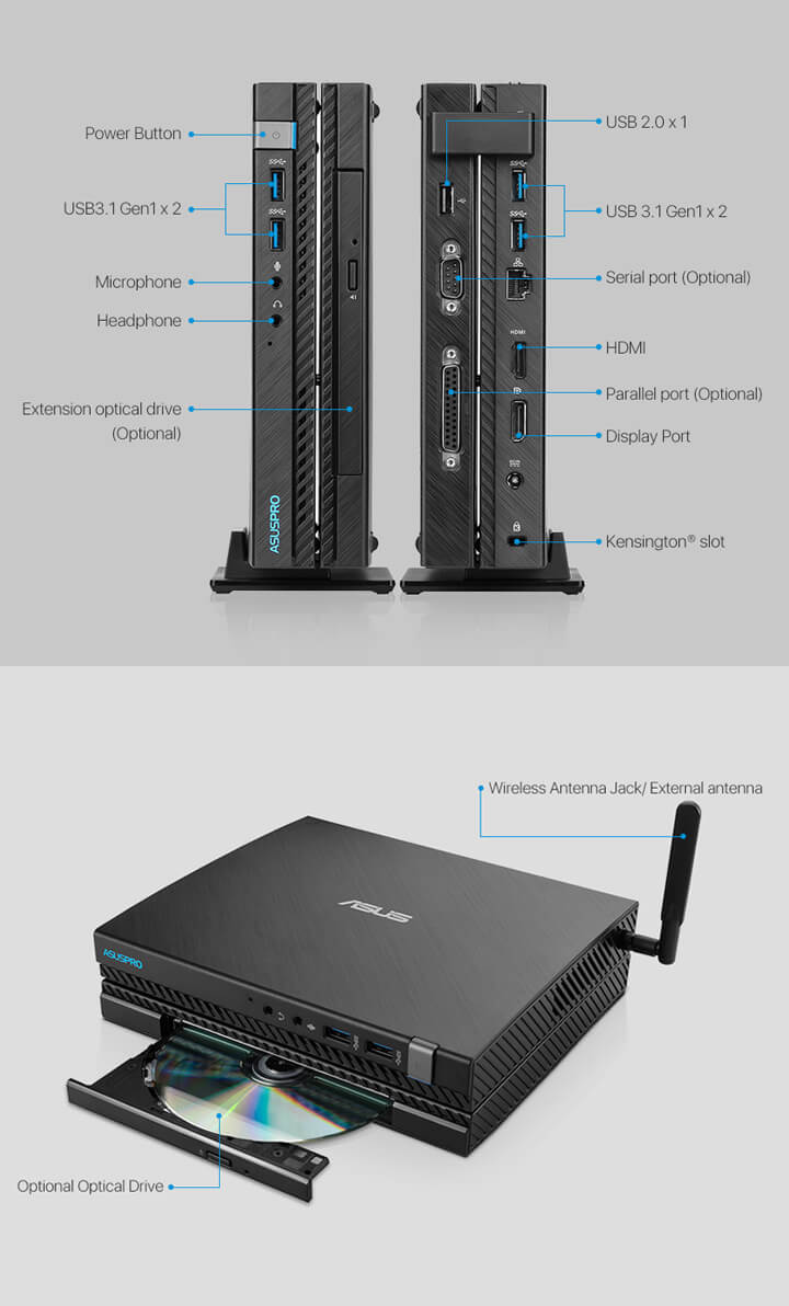 ASUSPRO E520-Business mini PC- hdmi- USB 3.1- serial port and ASUSPRO E520-Business mini PC-ODD-Wirelss Antenna