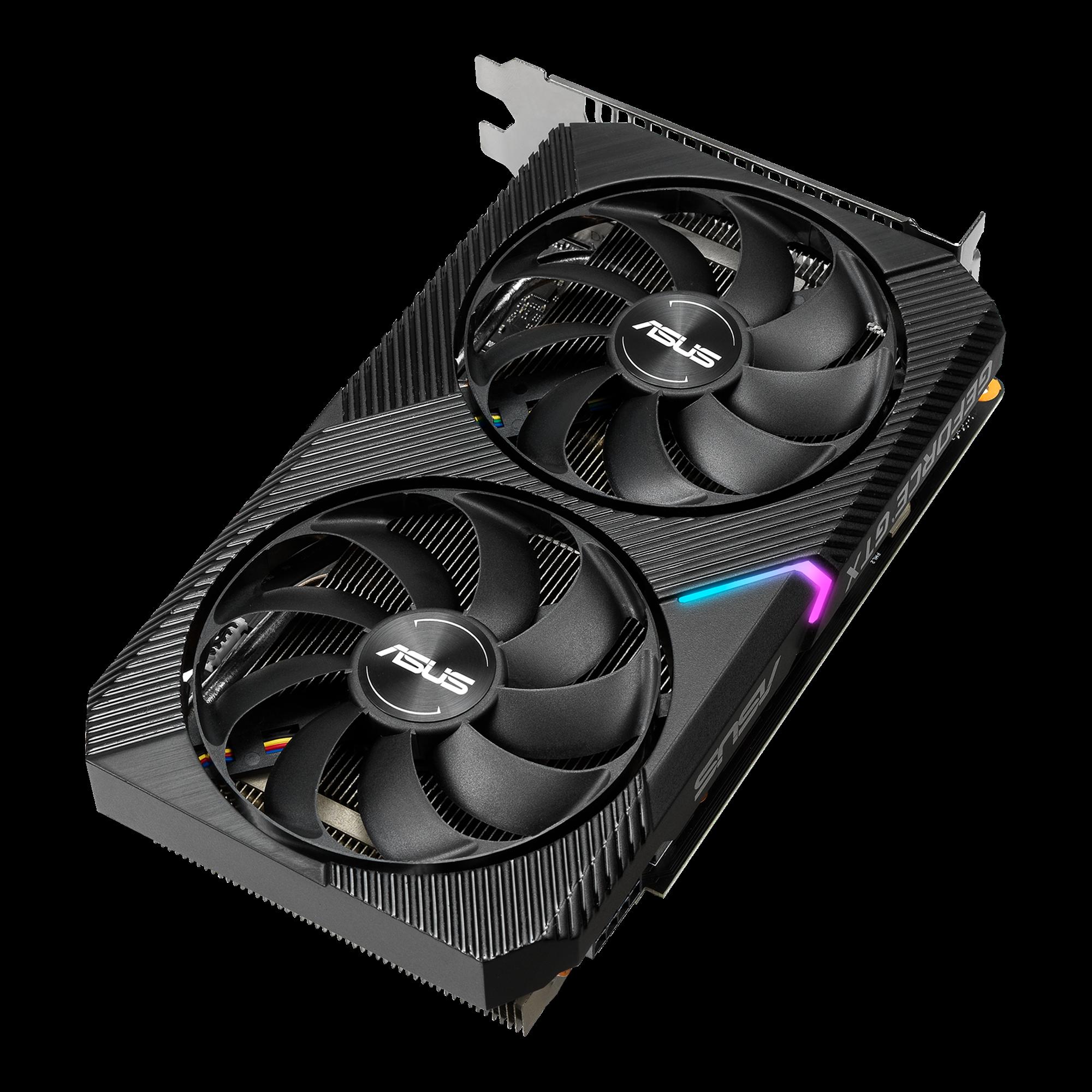 PCIe 3.0, 4GB GDDR6 Memory, HDMI, DisplayPort, DVI-D, for Intel NUC 9 Extreme Kit, Intel NUC 9 Pro Kit, and Small Chassis ASUS Dual NVIDIA GeForce GTX 1650 Mini OC Edition Gaming CSM Graphics Card