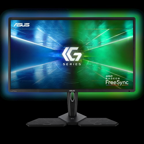 Promotional image of the ASUS CG32UQ HDR Console Gaming Monitor with a blue and green glow behind it