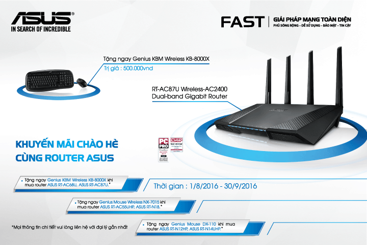 Khuyến mại cho ASUS Router