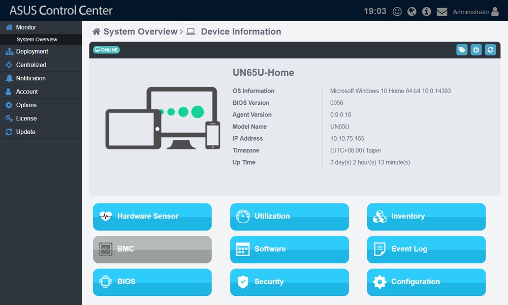 ASUS Control hardware & software monitoring