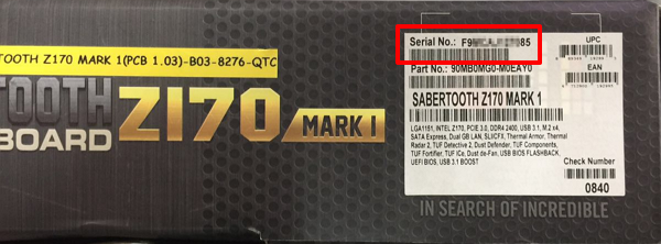 How to find product Serial Number
