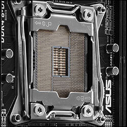Close-up of CPU socket on ASUS X99