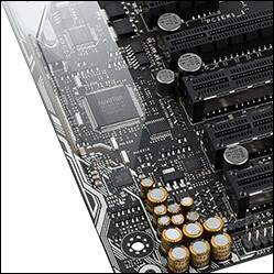 Close-up of ASUS X99 Deluxe with Crystal Sound 3