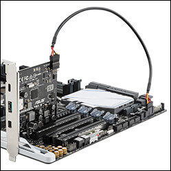 Close-up of ThunderboltEX 3 PCIe card