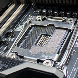 Close-up of OC Socket on ASUS X99 motherboard