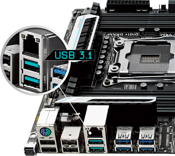 Close-up of ASUS X99 rear I/O with USB 3.1