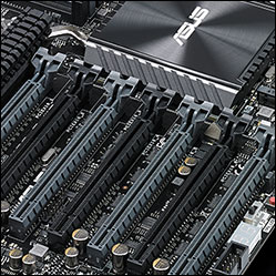 Close-up of the PCIe x16 slots on the ASUS X99-E WS
